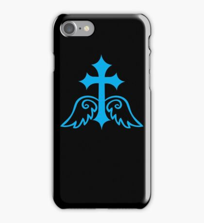 Blue gothic gross with wings iPhone Case/Skin