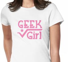 GEEK Girl cute girly pink nerd design Womens Fitted T-Shirt