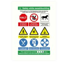 Musketeer Safety Signs (print/card) Art Print