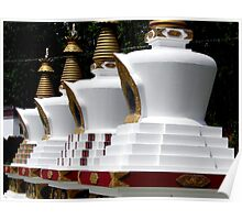 four stupas. mindrolling, northern india Poster