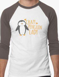 Crazy Penguin Lady  Men's Baseball ¾ T-Shirt