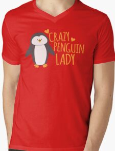 Crazy Penguin Lady  Mens V-Neck T-Shirt