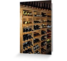 ASSORTED BOTTLES OF WINE IN STACKABLE WOODEN WINE RACK Greeting Card