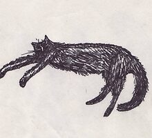 Sleepy black cat by Yael Kisel