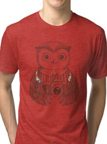 Drawing owl with camera Tri-blend T-Shirt