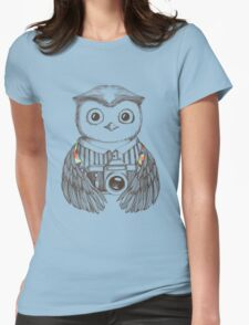 Drawing owl with camera Womens Fitted T-Shirt