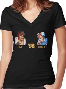 RYU VS CHUN LI - FIGHT! Women's Fitted V-Neck T-Shirt