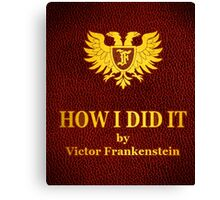 "Young Frankenstein ""How I did it"" Book Canvas Print"