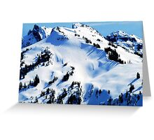 Back Country Downhill Skiers Greeting Card