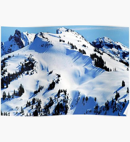 Back Country Downhill Skiers Poster