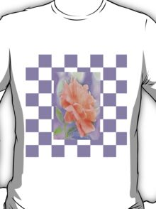 Romantic Watercolor Rose on Lavender and White Check T-Shirt