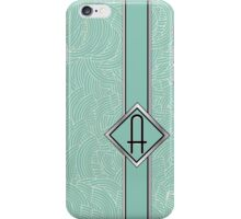 1920s Blue Deco Swing with Monogram letter A iPhone Case/Skin