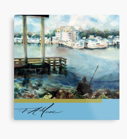 Gone Fishing. FA Moore Signature design, in Fisher Blue Metal Print