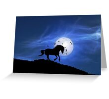 Unicorn and Full Moon Greeting Card