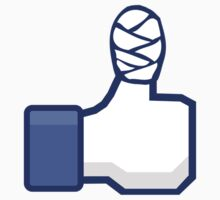 thumbs up, like, facebook, like it, bandage wrapped around an injured finger by ARGO