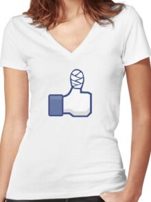 thumbs up, like, facebook, like it, bandage wrapped around an injured finger Women's Fitted V-Neck T-Shirt