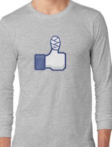 thumbs up, like, facebook, like it, bandage wrapped around an injured finger Long Sleeve T-Shirt