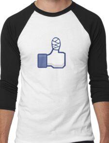 thumbs up, like, facebook, like it, bandage wrapped around an injured finger Men's Baseball ¾ T-Shirt