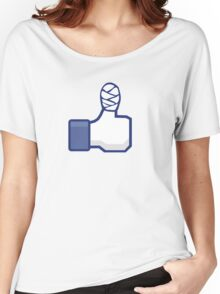 thumbs up, like, facebook, like it, bandage wrapped around an injured finger Women's Relaxed Fit T-Shirt