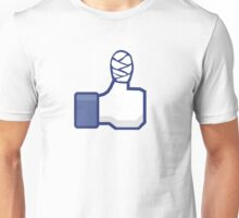 thumbs up, like, facebook, like it, bandage wrapped around an injured finger Unisex T-Shirt