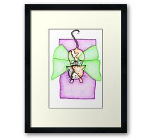 Calico and Green Fairy Cat Framed Print