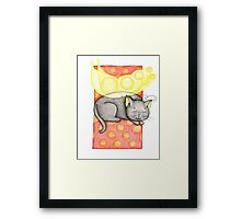 Black and Yellow Fairy Cat Framed Print