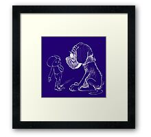 Who let the dog out, white Framed Print