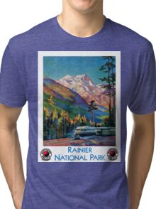 Rainier National Park Vintage Poster Restored Tri-blend T-Shirt