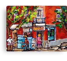 BOYS PLAY BASEBALL IN THE CITY MONTREAL SUMMER SCENE NEAR THE DEPANNEUR Canvas Print
