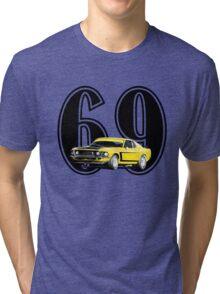 1969 Boss 302 - Mustang Fastback Tri-blend T-Shirt