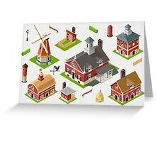 Isometric Great American Barn Set Greeting Card