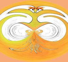 Swans in Love abstract design by Dennis Melling