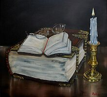 """Old Family Bible and Psalm Book"" - Oil Painting by Avril Brand"