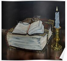 """""""Old Family Bible and Psalm Book"""" - Oil Painting Poster"""