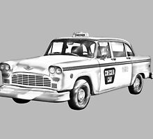 Checkered Taxi Cab Illustrastion by KWJphotoart