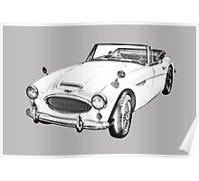 Austin Healey 300 Sports Car Drawing Poster