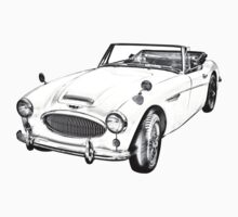 Austin Healey 300 Sports Car Drawing Kids Tee