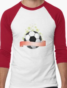 soccer ribbon with green curls in the air Men's Baseball ¾ T-Shirt