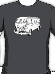 Classic VW 21 window Mini Bus Illustration T-Shirt