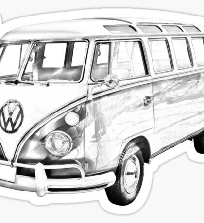 Classic VW 21 window Mini Bus Illustration Sticker