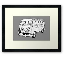 Classic VW 21 window Mini Bus Illustration Framed Print