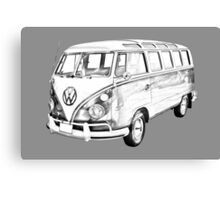 Classic VW 21 window Mini Bus Illustration Canvas Print
