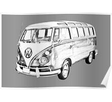 Classic VW 21 window Mini Bus Illustration Poster