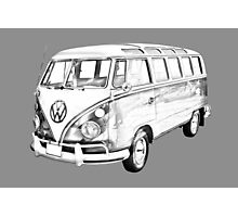 Classic VW 21 window Mini Bus Illustration Photographic Print