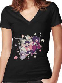 Steven Universe - Gem Warriors! Women's Fitted V-Neck T-Shirt