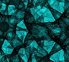 Fractal art black and turquoise by Medusa81