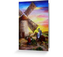 Don Quixote's Windmill Adventure Greeting Card