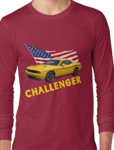 Challenger with American Flag Long Sleeve T-Shirt
