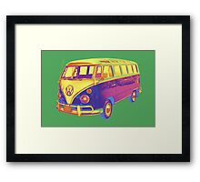 Classic VW 21 window Mini Bus Pop Art Image Framed Print