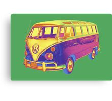 Classic VW 21 window Mini Bus Pop Art Image Canvas Print